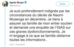 Post twitter Agnès Buzyn